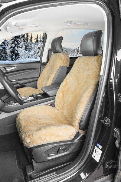 Housse de siège auto Shauna en fourrure d'agneau avec hauteur de laine 20 mm - 1 pièce beige avec système ZIPP IT