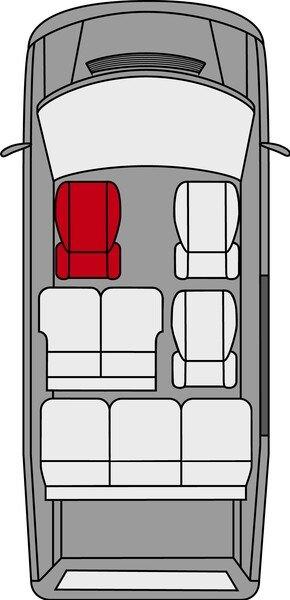 Housse de siège Transporter en tissu pour Mercedes Classe V 477, siège unique conducteur accoudoir intérieur