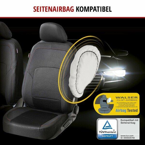 ZIPP IT Premium Autositzbezüge Logan für zwei Vordersitze mit Reißverschluss-System schwarz/rot