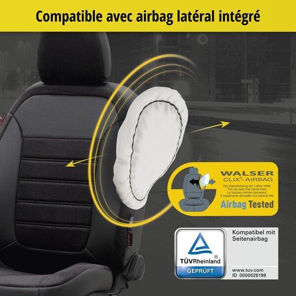 Housse de siège Bari pour VW Caddy III Van 2KA,2KH,2C année 03/2004-05/2015, 2 housses de siège pour sièges normaux