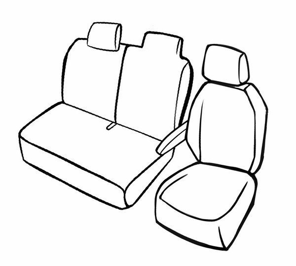 Premium Autositzbezug für Renault Master III 02/2010-Heute, 1 Einzelsitzbezug vorne + Armlehnenbezug, 1 Doppelbankbezug