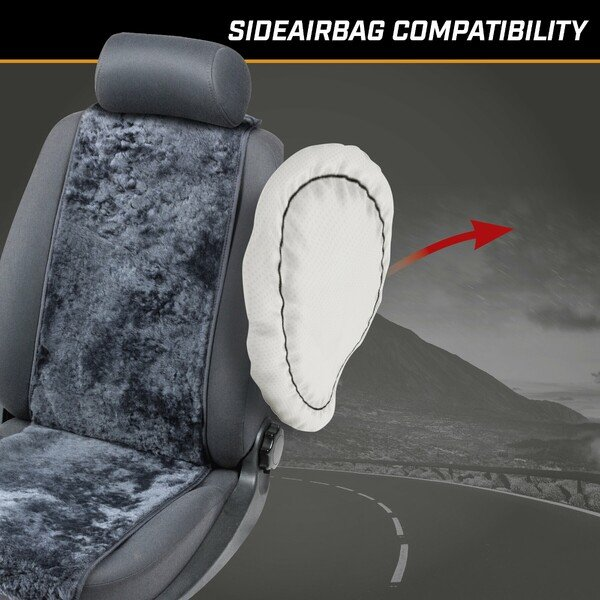 Car Seat cover made of lambskin Cosmo anthracite 12-14mm fur height