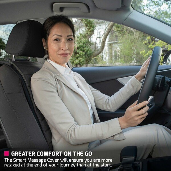 """Faurecia Smart Massage Cover, massage-car-seat-cover with smart app control and integrated battery, certified by """"Aktion Gesunder Rücken"""" (Healthy Back Campaign)"""