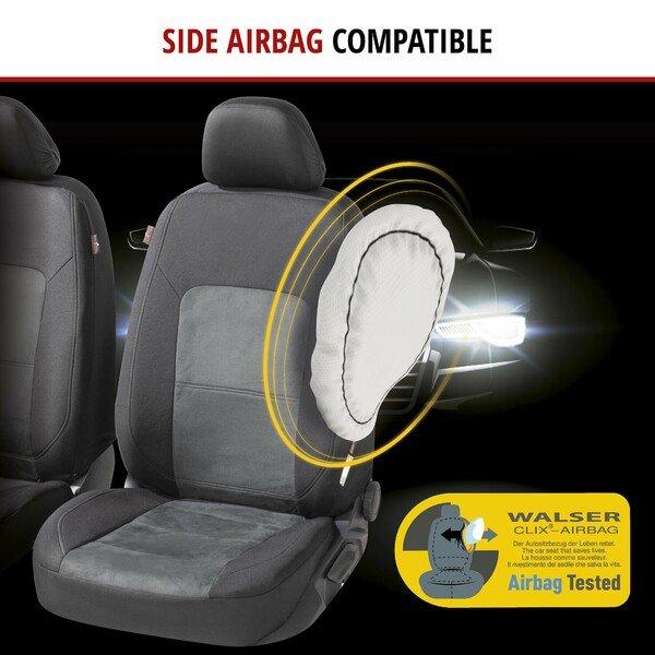 ZIPP IT Premium Car seat covers Ellington complete set with zip-system black/grey