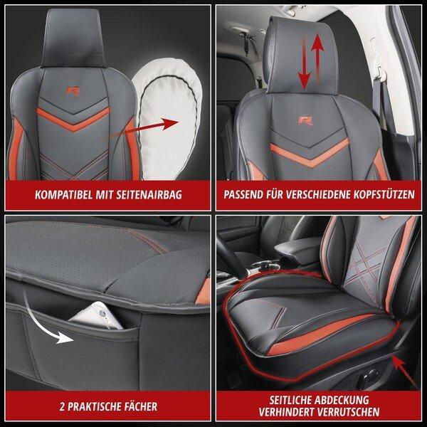 PKW Sitzauflage Rey schwarz-rot