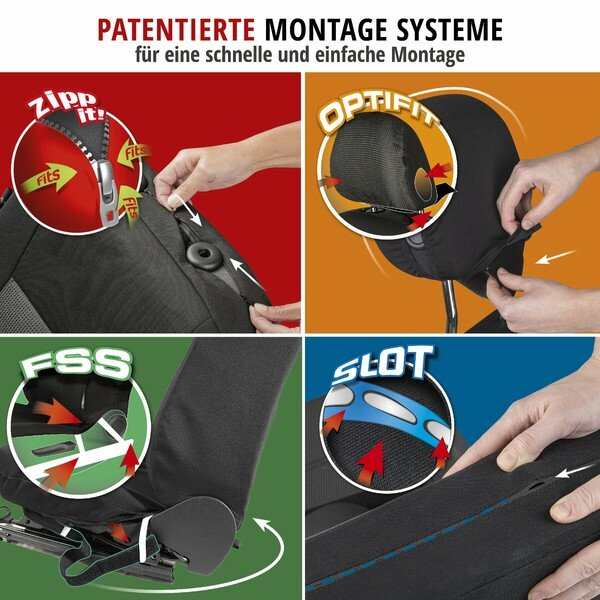 ZIPP IT Premium Autositzbezüge Avignon Komplettset mit Reißverschluss-System schwarz/silber