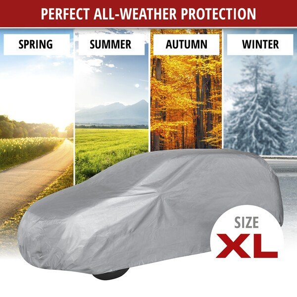Car tarpaulin All Weather Light Kombi Full garage size XL light grey