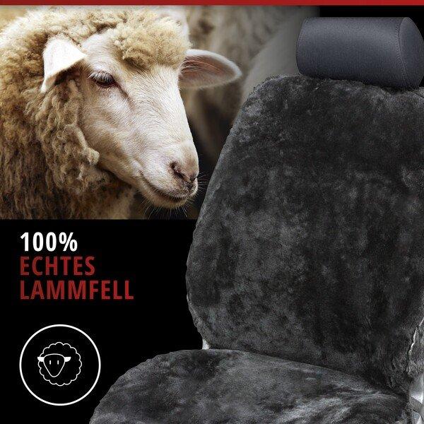 Autositzbezug Monette aus Lammfell schwarz mit ZIPP IT System