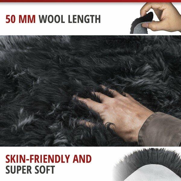 Lambskin carpet Seat cover Beal black 100-105 cm long