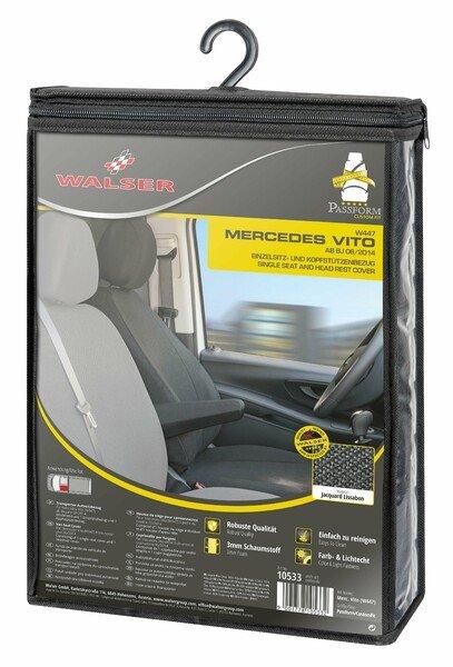 Housse de siège Transporter en tissu pour Mercedes Vito 447, siège simple avec accoudoir à l'intérieur