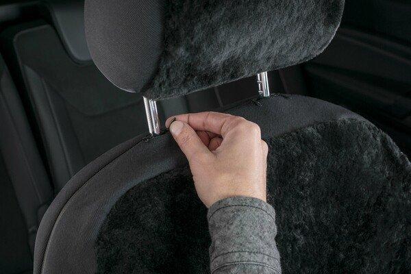 Coprisedili auto Iva in pelle d'agnello nero con sistema informatico ZIPP