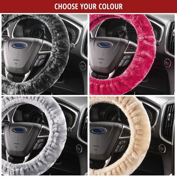 Steering wheel cover Teddy Plush faux fur vegan anthracite