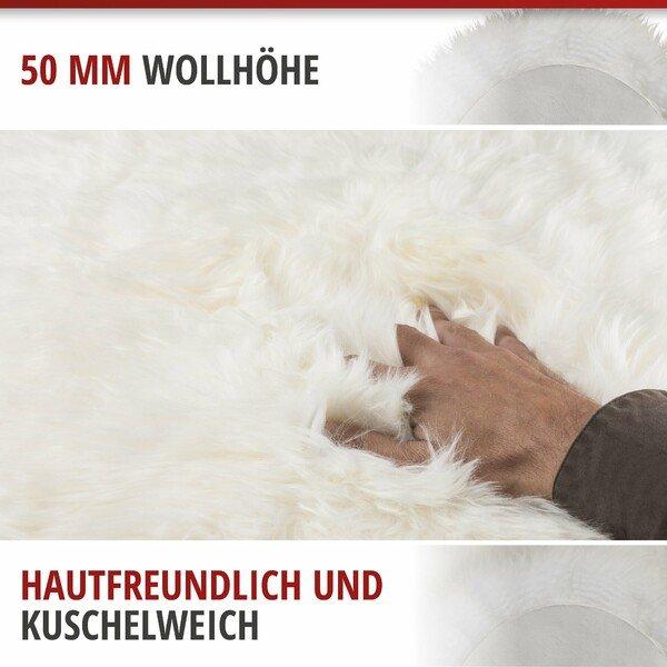 Lammfell Teppich Sitzauflage Beal weiss 100-105 cm lang