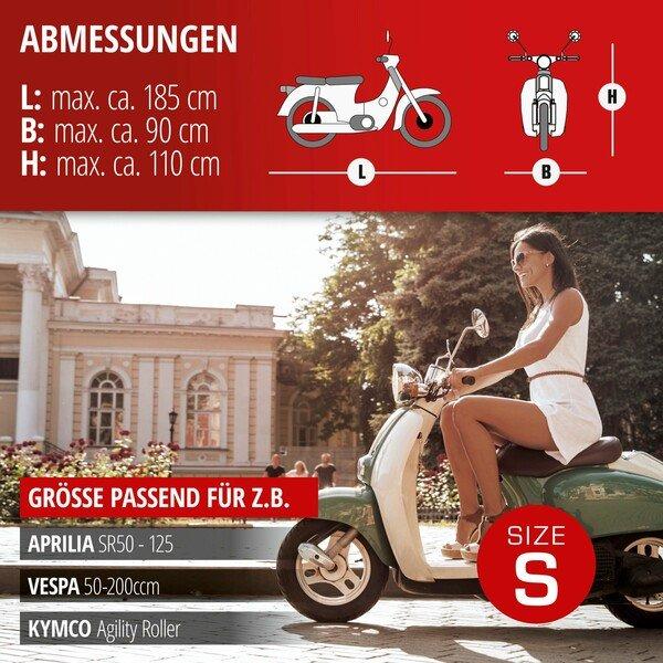 Motorradgarage Scooter Größe S PVC - 185 x 90 x 110 cm grau