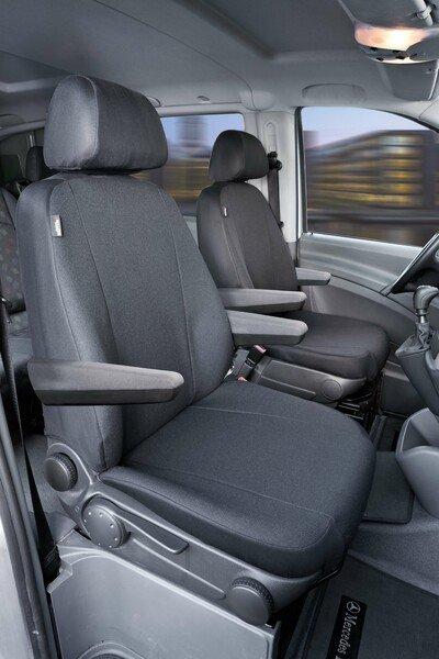 Housse de siège Transporter en tissu pour Mercedes Vito/Viano, 2 sièges simples pour accoudoir à l'intérieur