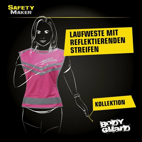 Laufweste mit Reflektor pink - Grösse S/M