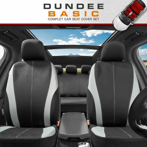 ZIPP IT Car seat covers Dundee complete set with zip-system black/grey