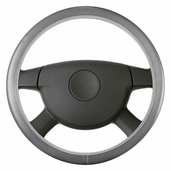 Steering wheel cover Soft Grip Carbon - 38 cm grey