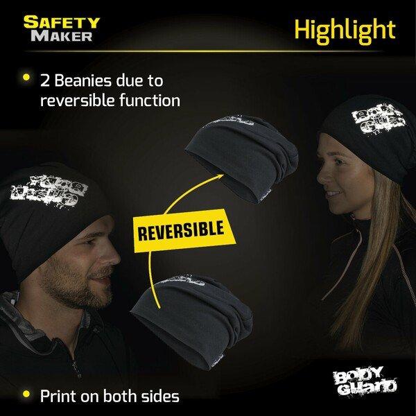reversible beanie, cap, sports cap reflective black-silver