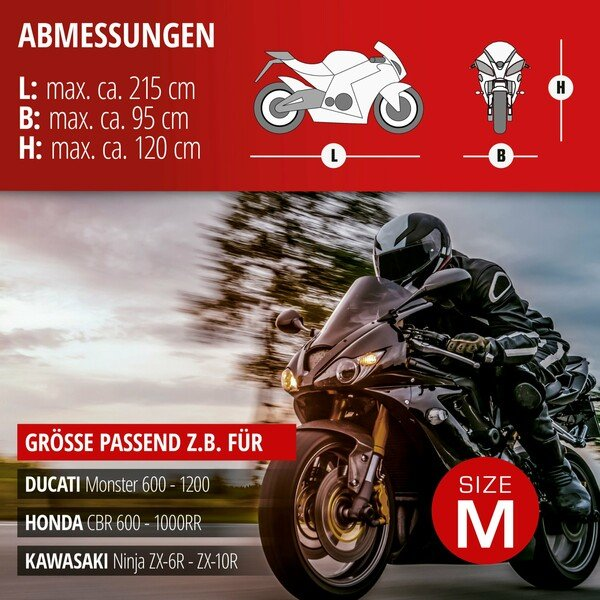 Motorradgarage Sport Größe M PVC - 215 x 95 x 120 cm grau