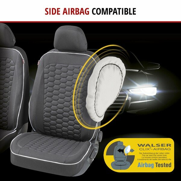 ZIPP IT Premium Car seat covers Kendal for two front seats with zip-system black/white