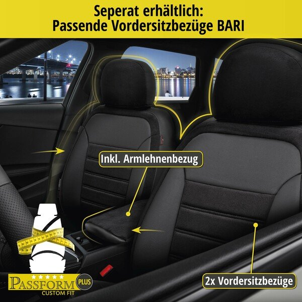 Passform Sitzbezug Bari für Audi A3 (8P1) Baujahr 05/2003-12/2013, 1 Rücksitzbankbezug für Sportsitze