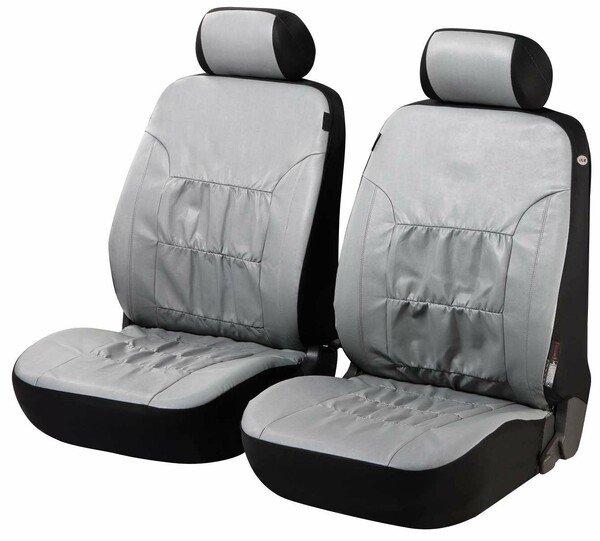 Autositzbezüge Nappa Touch grau für zwei Vordersitze aus Kunstleder