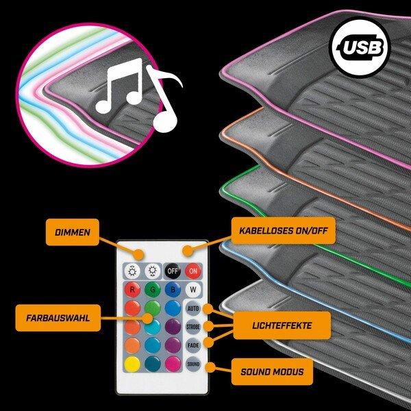 LED-Gummimatte Glow mit Farbauswahl, verschiedenen Lichtfunktionen und Fernbedienung für Ambientebeleuchtung