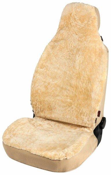 Coprisedili auto Zoya in pelle d'agnello beige con sistema ZIPP IT per sedile a schienale alto