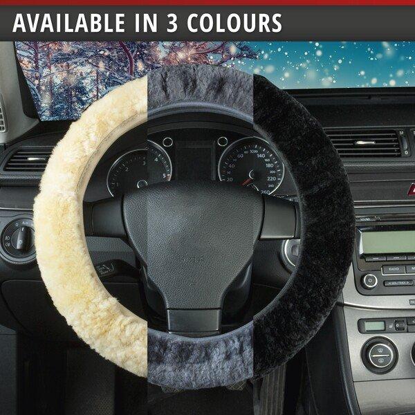 lambskin steering wheel cover - steering wheel cover in black