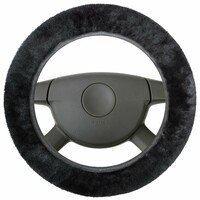 lambskin steering wheel cover - steering wheel cover in black