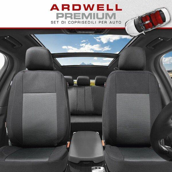 ZIPP IT Premium Coprisedili Ardwell set completo con sistema di chiusura lampo nero/grigio