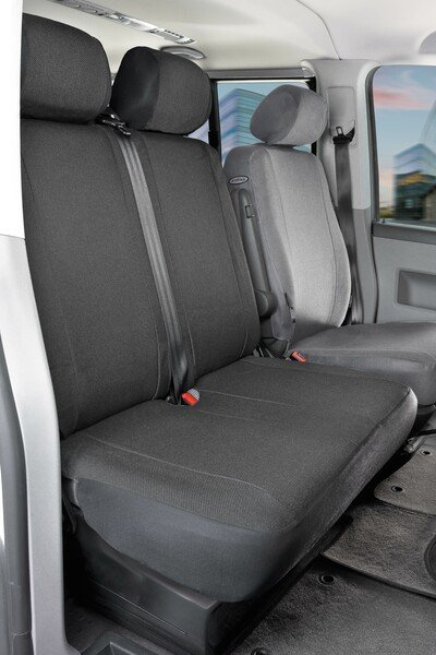 Car Seat covers for VW T6 double bench front foldable from fabric for year of construction 07/2015 - today