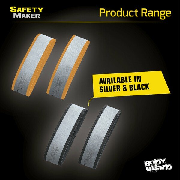 reflector band in silver / orange - 1 pair