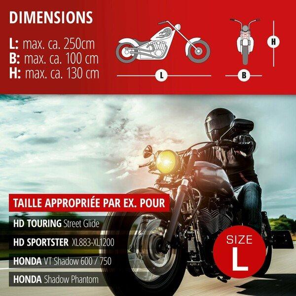 Garage à motos Chopper taille L PVC - 250 x 100 x 130 cm gris