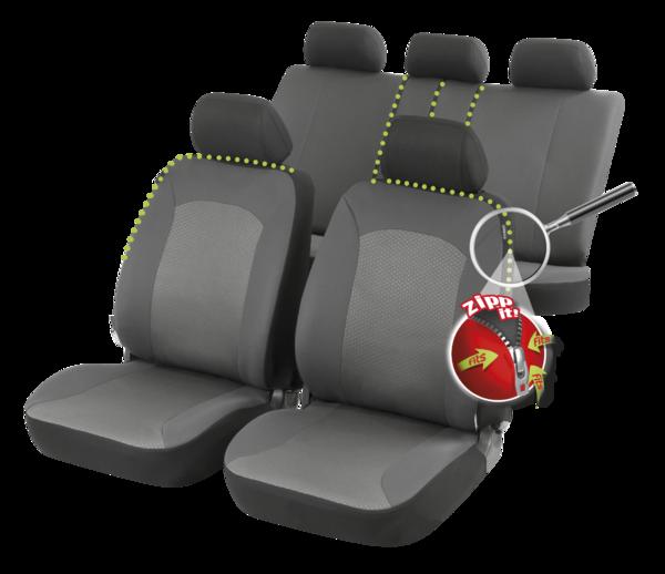 ZIPP IT Premium Manhay Autositzbezüge Komplett Set mit Reissverschluss System