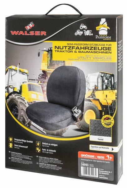 Semi-fit Seat cover for tractors and construction machinery - size 1 with back extension