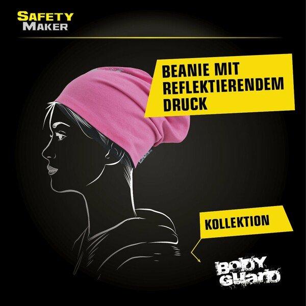 Wende Beanie, Mütze, Sportmütze reflektierend pink-silber