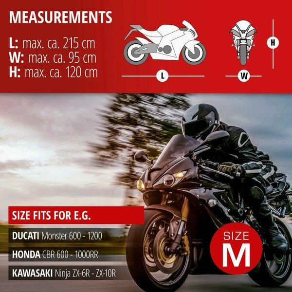 Motorcycle garage Sport size M PVC - 215 x 95 x 120 cm grey
