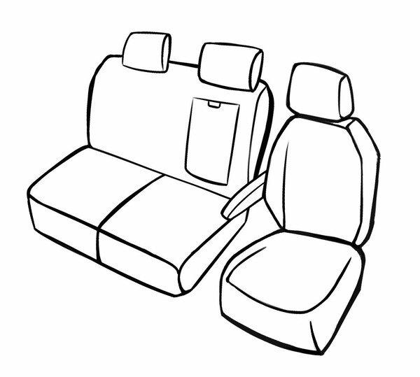 Premium Autositzbezug für Citroen Jumpy 2016-Heute, 1 Einzelsitzbezug vorne + Armlehnenbezug, 1 Doppelbankbezug