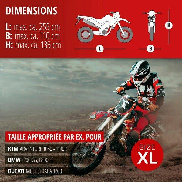 Garage à motos Enduro taille XL PVC - 255 x 110 x 135 cm gris