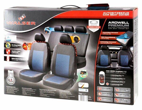 ZIPP IT Premium Coprisedili Ardwell set completo con sistema di chiusura lampo nero/blu