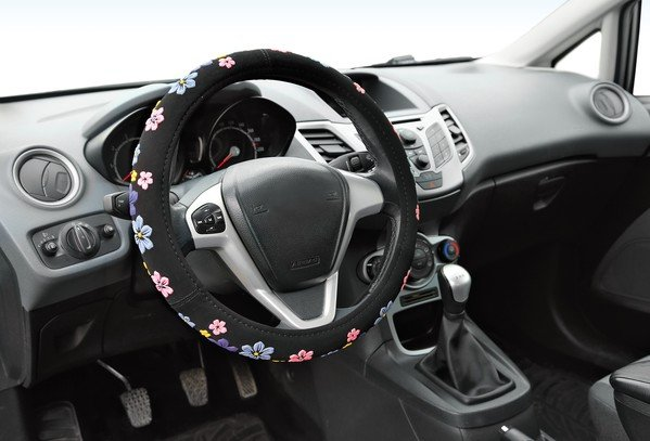 steering wheel cover with flowers size S 35-37 cm