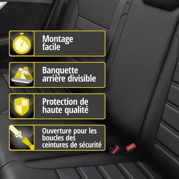 Housse de siège Robusto pour VW Polo (6R1, 6C1) année 03/2009-aujourd'hui, 1 housse de siège arrière pour les sièges normaux