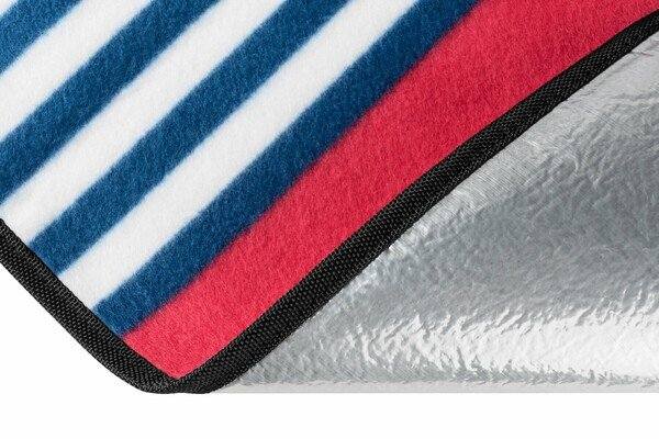 Travel blanket with aluminium back red/blue stripes 200x200cm