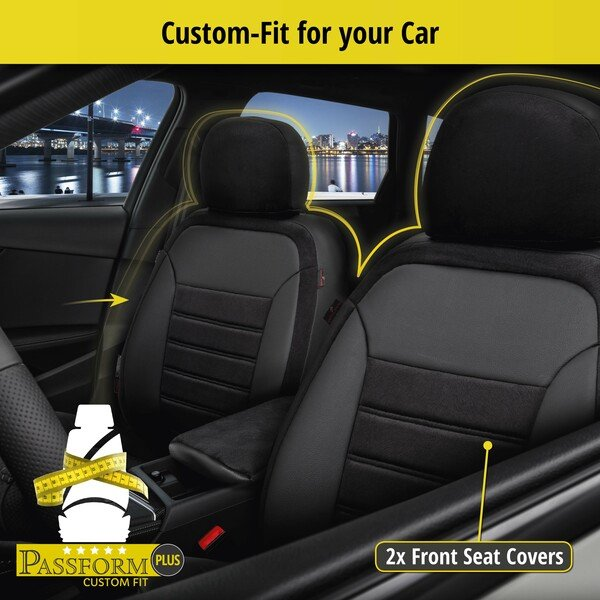 Seat cover Bari for Ford Focus III Turnier year 07/2010-Today, 2 seat covers for normal seats Titanium