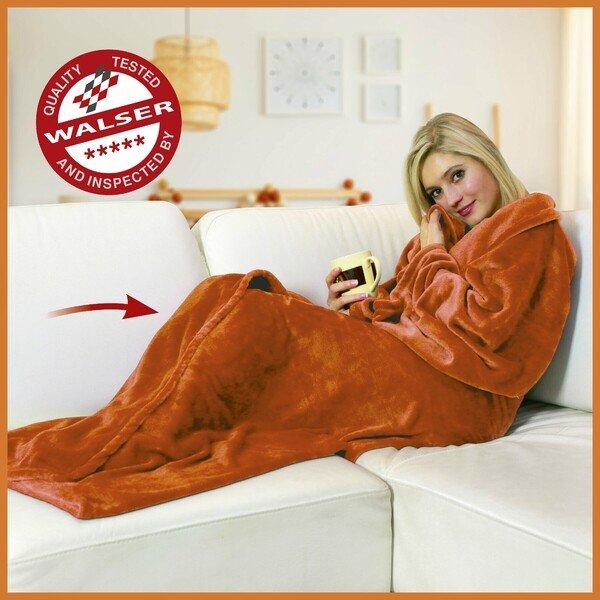 Snuggle blanket Fleece blanket Snuggle with sleeves orange