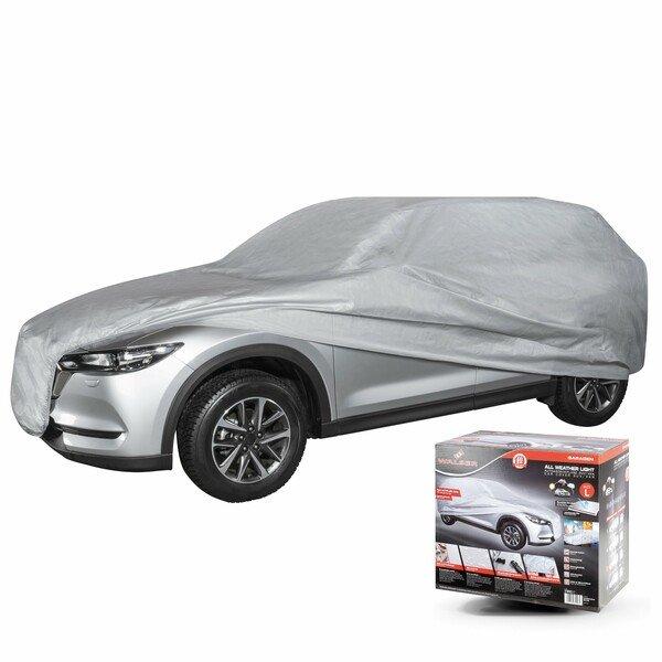 WALSER 31093 Autoabdeckplane AllWeather SUV Größe L hellgrau, wasserdichte Autogarage, Staubdicht mit UV Schutz, verstärkte Gurtbefestigung