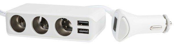 Voiture/voiture USB et chargeur de voiture DC 12/24V blanc