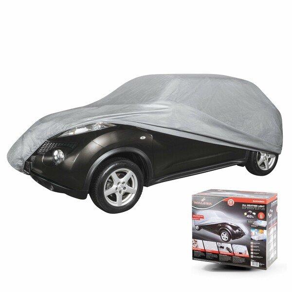 WALSER 31091 Autoabdeckplane AllWeather SUV Größe S hellgrau, wasserdichte Autogarage, Staubdicht mit UV Schutz, verstärkte Gurtbefestigung